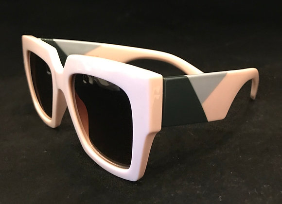 Sunglasses, Pink Frame, Gray Black Design