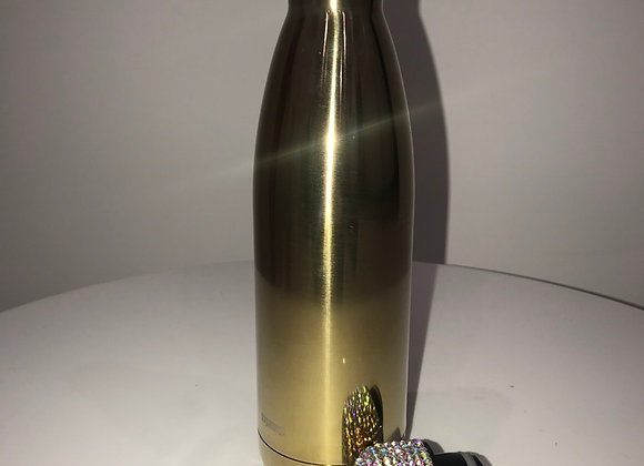 METALLIC GOLD Coated Stainless Steel Water Bottle, Swarovski Crystals