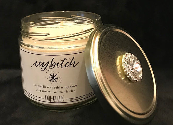 """Candle, Scented, """"Icy *itch"""", Peppermint / Vanilla, Crystal"""