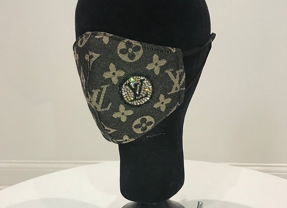 LOUIS VUITTON,Cashmere,Black/Khaki,(R)logo Swarovski Crystals,GLAMical face mask