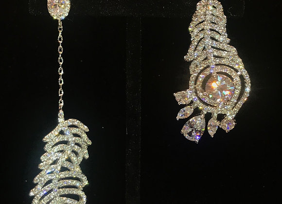 Earrings, Pierced, Feather Dangle,  Cubic Zirconia - Clear