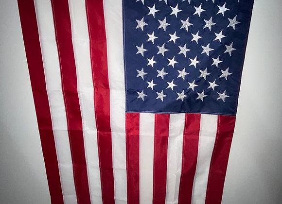 United States Flag, 50 Stars Silver Glitter Flocking