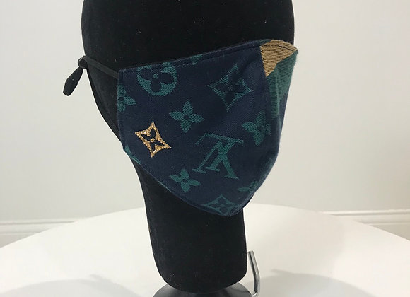 LOUIS VUITTON, Cashmere, Navy/Green, Swarovski Crystal, GLAMical face mask