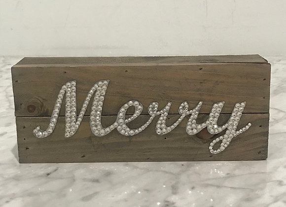 """Merry"" Wall Art, Wood, Swarovski Crystals"