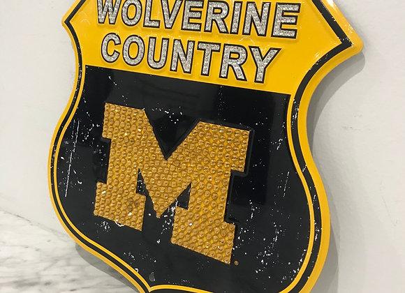 """Wolverine Country"" U of M Wall Art, Metal, Swarovski Crystals"