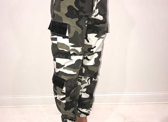 Ladies GLAMO Pants, Black/Grey Camo Cargo, Black crystal mesh pockets