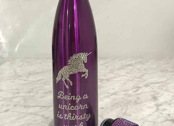 UNICORN Coated Stainless Steel Water Bottle, Purple, Swarovski Crystals