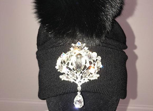 Winter Hat, Black, black fox fur pom