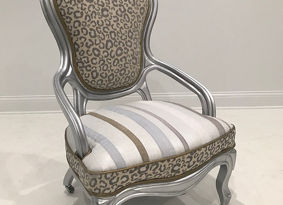 "Antique ""Leopard"" Chair, High Back, Silver, Silk"