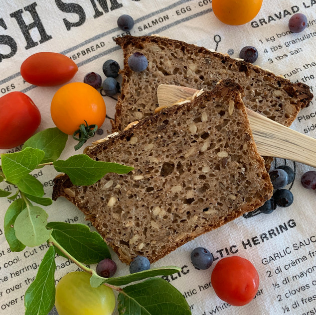 Homemade Rye Bread with Seeds and Sourdough