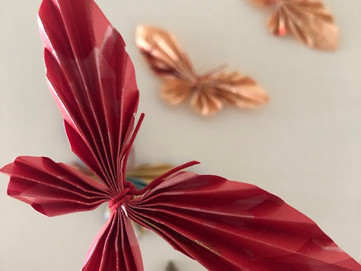 Upcycled Butterflies from Red Packets