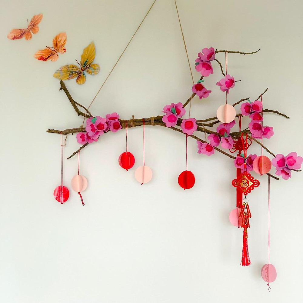 DIY a Cherry Blossom Wall Decor for Chinese New Year with WahSoSimple