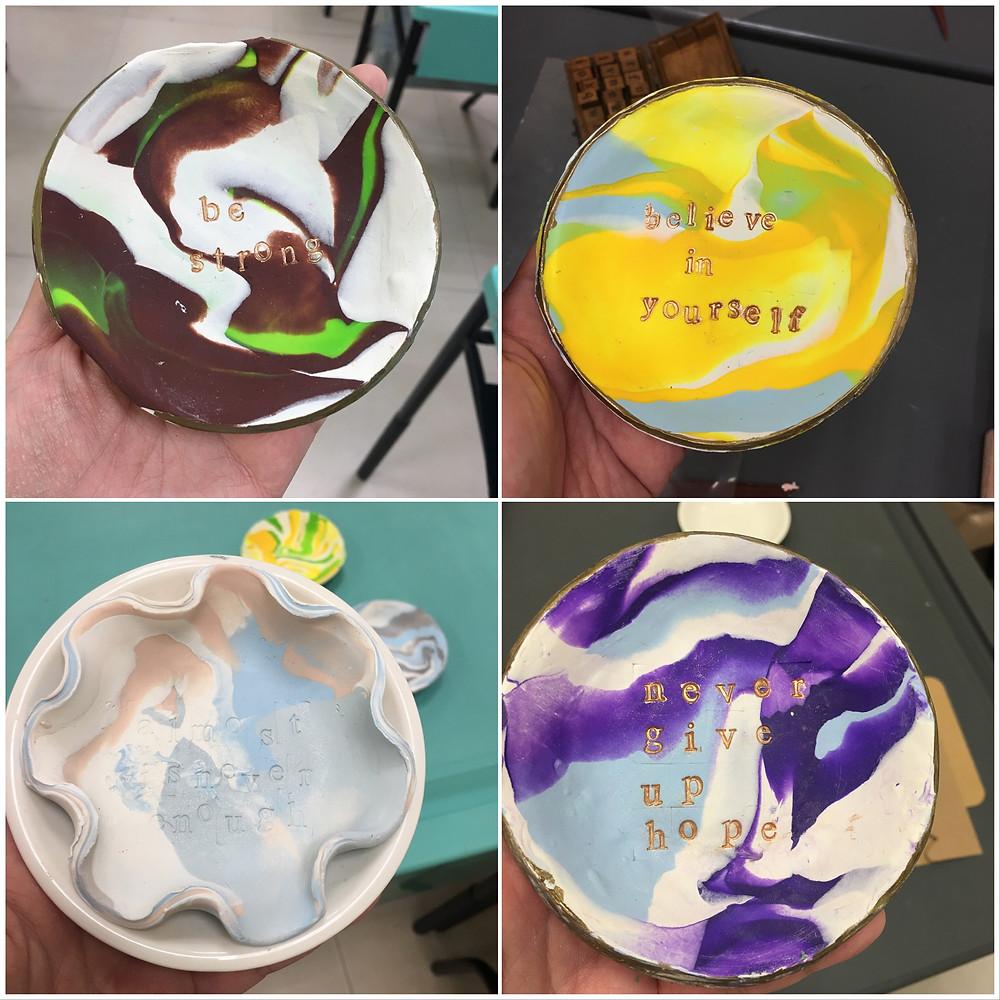 WahSoSimple Craft Workshop Marbled Clay Dish