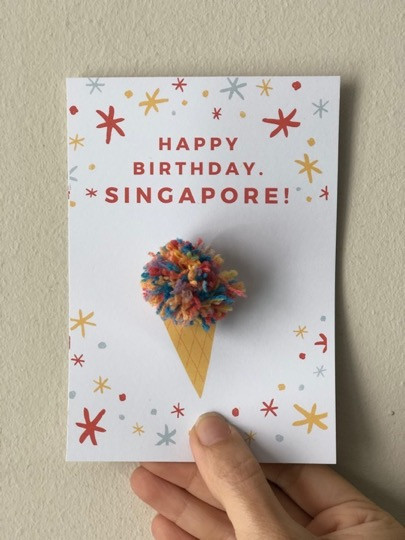Wah So Simple Ice Cream Pom Pom Birthday Card