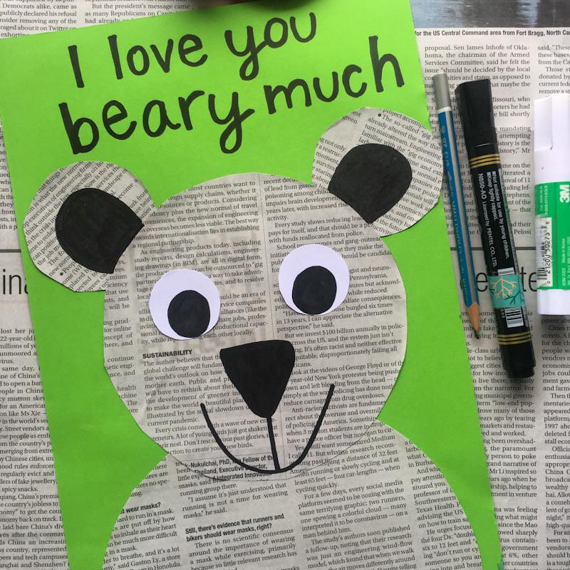 DIY Newspaper Art Bear