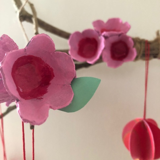 Chinese New Year Decoration Craft DIY Cherry Blossom Wall Decor by WahSoSimple