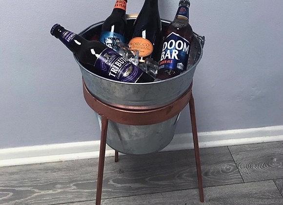 The 'Cambridge Urban' Ice Bucket and Stand - Galvanised Bucket