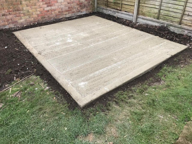Concrete base ready for a garden shed