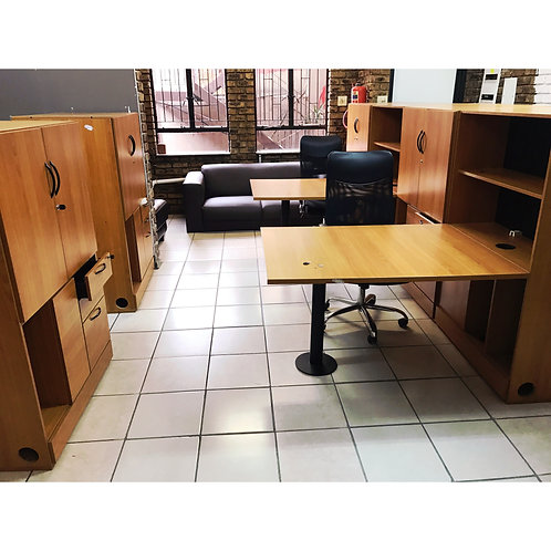 Office desk and shelves clusters of two
