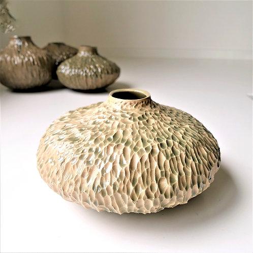 Carved vase hint of jade green