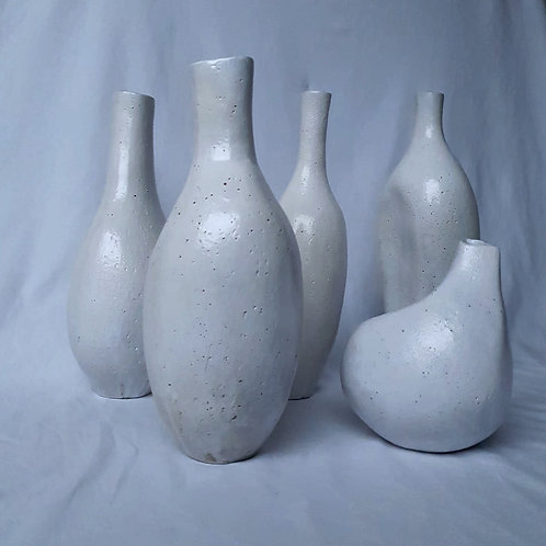 """""""Shapes"""" group composition of 5 sculpted vases"""