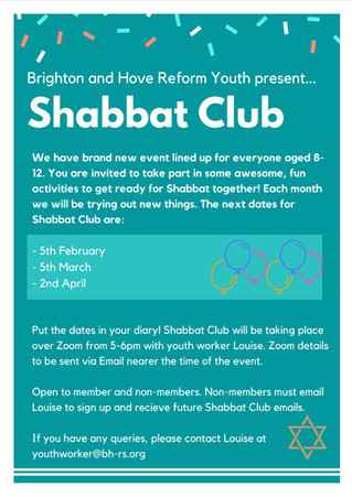 Join our Shabbat Club 8-12yrs