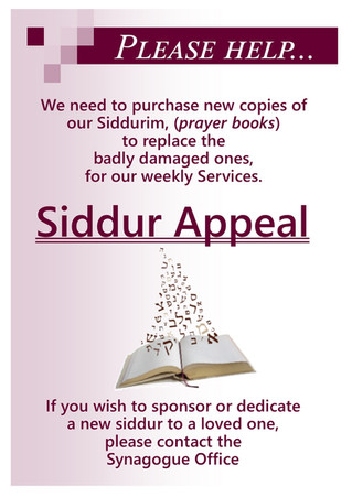 Help with our Siddur Appeal