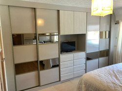 Fitted sliding wardrobes with built in draws and tv area - Staveley, Chesterfield
