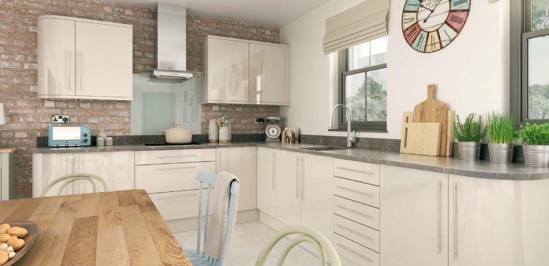 High gloss alabaster kitchen design