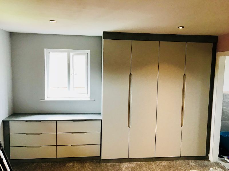 Handless fitted wardrobe doors with matching draw units - Eckington, Sheffield
