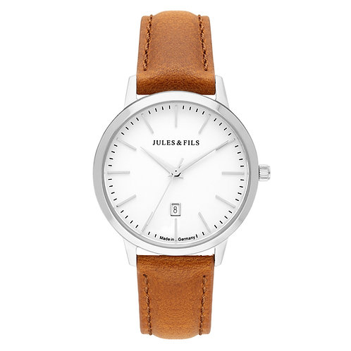 Dauphine Classic Silver 34mm Brown strap