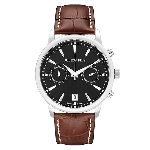 Chronograph Black 42mm Brown strap