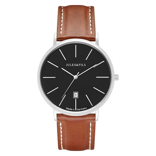 Classic 40mm Black - Brown strap