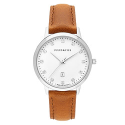 Dauphine Diamond Silver 34mm Brown strap
