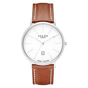 Classic 40mm Silver - Brown strap