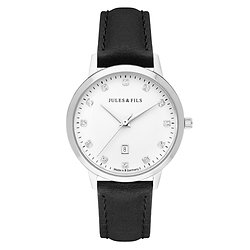 Dauphine Diamond Silver 34mm Black strap