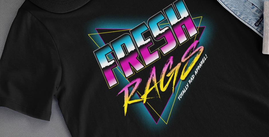 80's Synthwave FreshRags logo tee