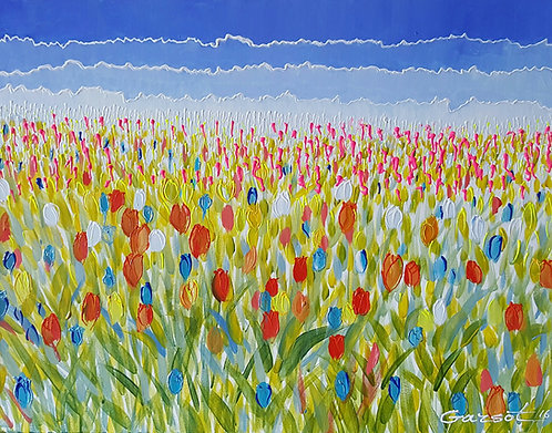 "ORIGINAL - WILD TULIPS 2016  22"" X 28"" Acrylic on canvas"