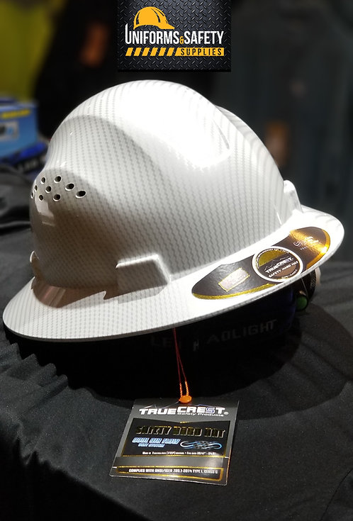 HDPE Hydro Dipped (White) Full Brim Hard Hat with Fas-trac Suspension.