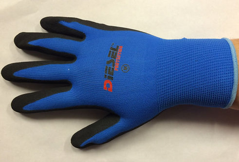Diesel Blue Safety Gloves Latex Coated Grip Cut Resistant