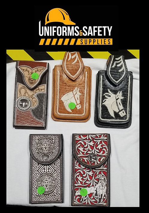 Tooled Leather Cell Phone Holder