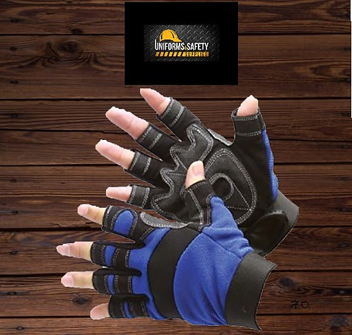 Mechanic Fingerless Synthetic Leather Palm Patch Gloves