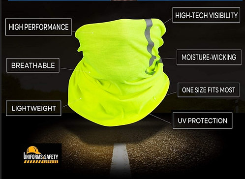 High Visibility Reflective Safety Face Clothing - Neck Gaiter, Bandana Dust Mask