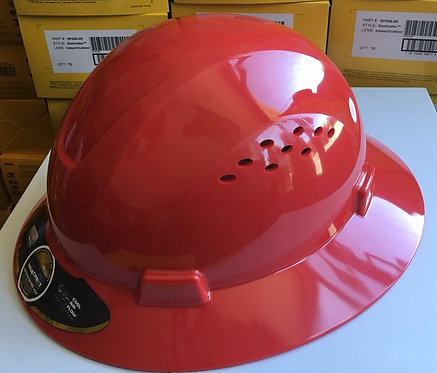 TrueCrest HDPE (Red) Full Brim Hard Hat with Fas-trac Suspension
