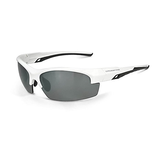 Crossfire Eyewear Crucible Silver Mirror Polarized LENS & White Frame,