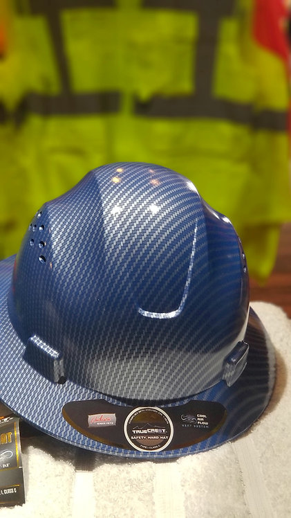 HDPE Hydro Dipped (Blue) Full Brim Hard Hat with Fas-trac Suspension.