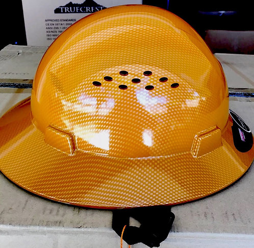 HDPE Hydro Dipped (Tan) Full Brim Hard Hat with Fas-trac Suspension.