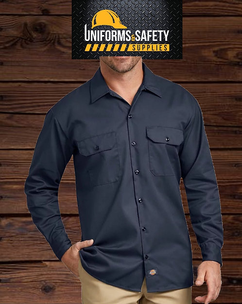 Long Sleeve Industrial Work Shirt, Navy Blue