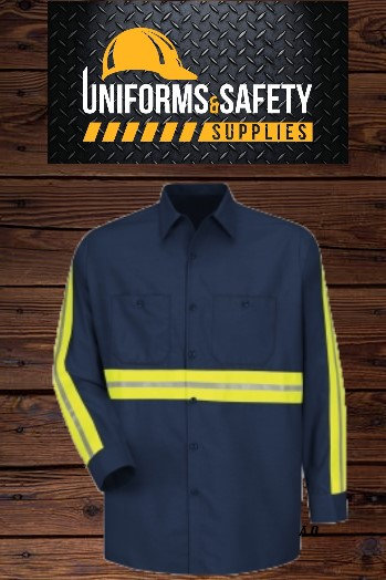 Enhanced Visibility Industrial Semi-New Work Shirt - Long Sleeve - Navy
