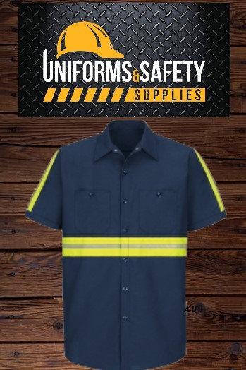 Enhanced Visibility Industrial Work Shirt - Short Sleeve - Navy
